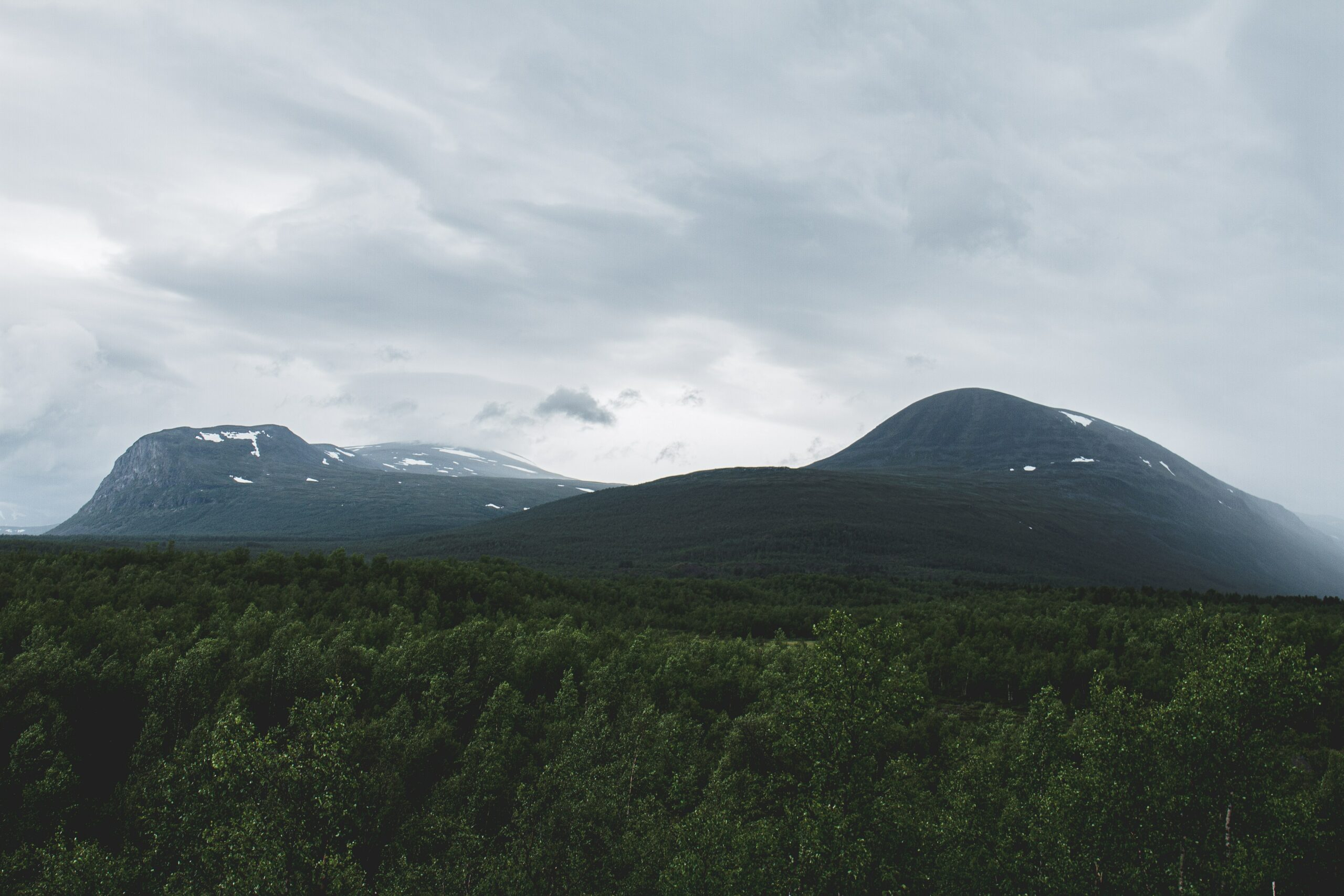 mountain landscape with clouds in kiruna, sweden
